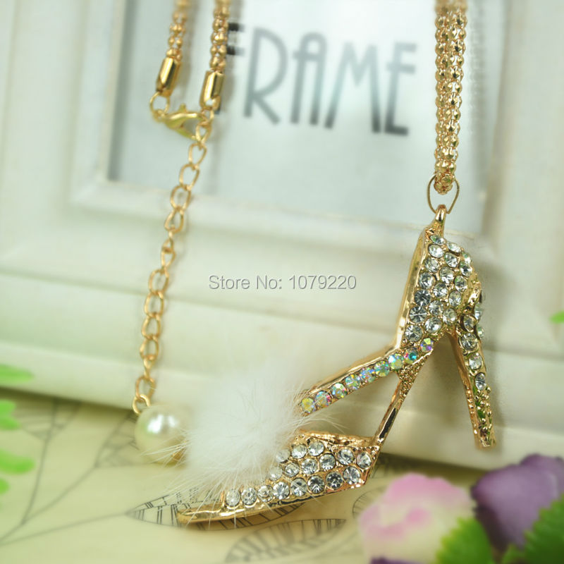 High-heeled Shoes Sweater Necklace Fashion Jewelry Crystal For Women Long Necklace Pendants Rhinestone Chain Party Christma Gift