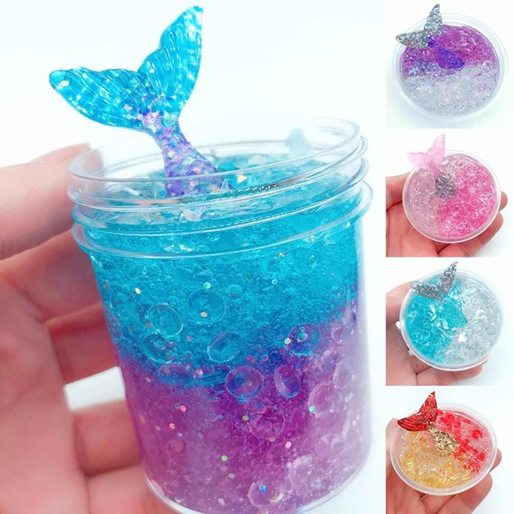 60ml Colorful Exquisite fishbowl beads mermaid Slime crystal mud cotton clay Plasticene DIY decompression Modeling toys