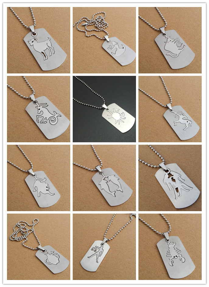 stainless steel twelve constellation Sign charm necklace double detachable 12 zodiac pendant