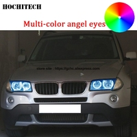 HochiTech For BMW E83 X3 2003 2010 car styling Multi color LED Demon Angel Eyes Kit Halo Ring Day Light DRL with remote control