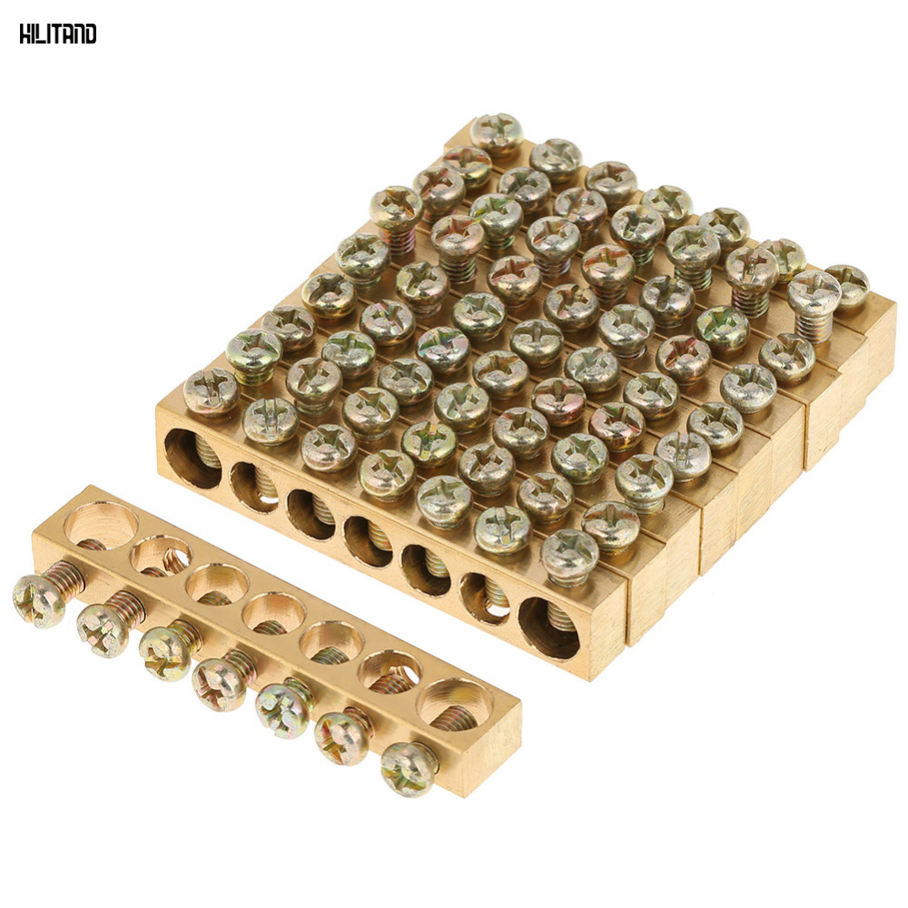 10pcs Set 7 Hole Terminal Block Bar Electrical Distribution Wire Wiring Board Busbar Screw Brass Ground Neutral In Blocks From Home Improvement On