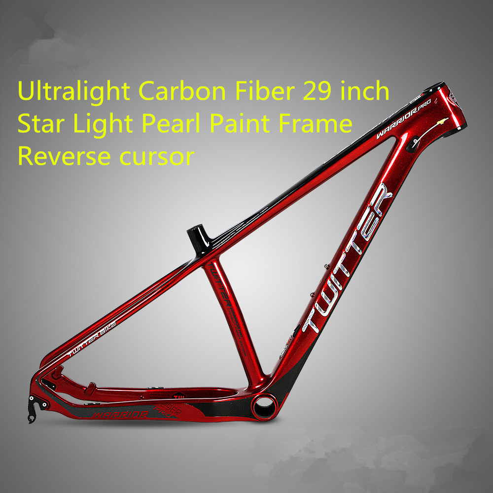 TWITTER PRO Ultralight Carbon Fiber MTB Mountain Bike Frame 29 inch Star Light Pearl Paint Race Off-road Bicycle Frame