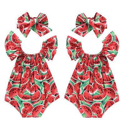 2017 Cute Newborn Baby Girls Watermelon Romper Bodysuit+Headband Clothes Sunsuit