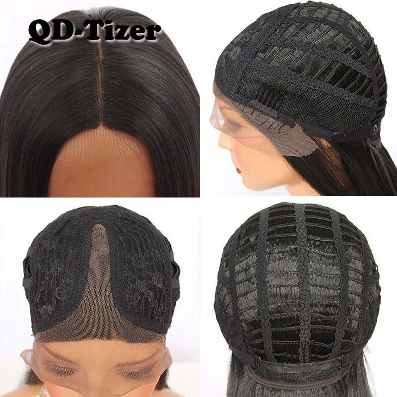Image 5 - QD TIZER Long Black Synthetic Lace Front Wig Silky Striaght Glueless Heat Resistant Fiber Lace Front Wigs Natural Hairline-in Synthetic Lace Wigs from Hair Extensions & Wigs