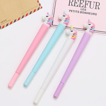 100 Pcs Korean Cartoon Unicorn Black Signature Pen Student Writes Neutral Pen Office Pen Exam Pen Stationery