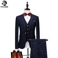 FOLOBE Tuxedo 3 Piece Printing Suit Blue Costume Mariage Homme Mens Suits With Pants Casual Formal Mens Suit grooms wear