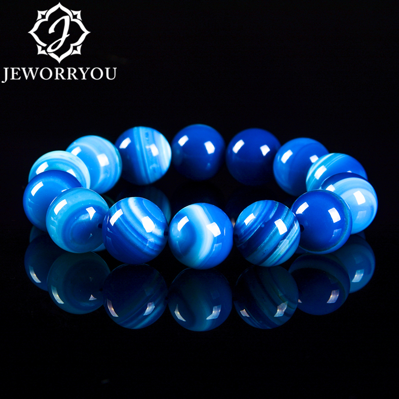 6 12mm Blue Natural Agate Mens Bracelets Natural Sone Femme Blue Best Friend Bracelet For Men 2018 Natural Stone Bracelet Homme in Bracelets Bangles from Jewelry Accessories