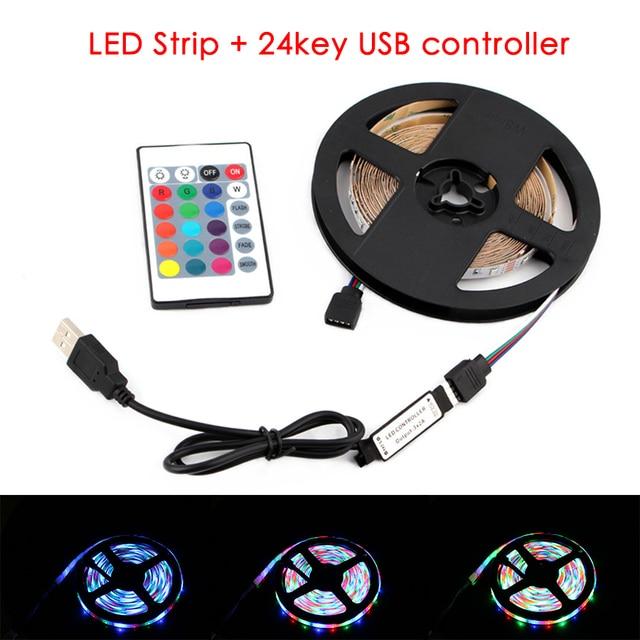 Tira de luces LED RGB de 5 V para retroiluminación de TV, 2835, 50cm   5 m, 5 V, RGB, con control IR para lámpara de escritorio y PC, cinta de diodos