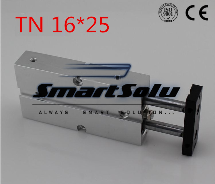 Free Shipping TN 16*25 Pneumatic TN Series 16mm Bore 25mm Stroke Twin Rod CylinderWith Magnet Twin Rod Air Cylinder tn16 70 twin rod air cylinders dual rod pneumatic cylinder 16mm diameter 70mm stroke