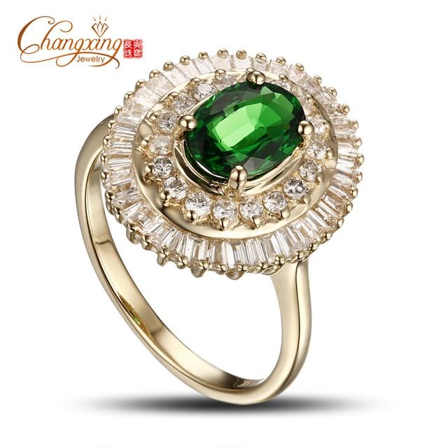 Impresionante 14 K 2.47ctw Natural Tsavorita Verde Oro Amarillo Anillo de Compromiso de Diamantes