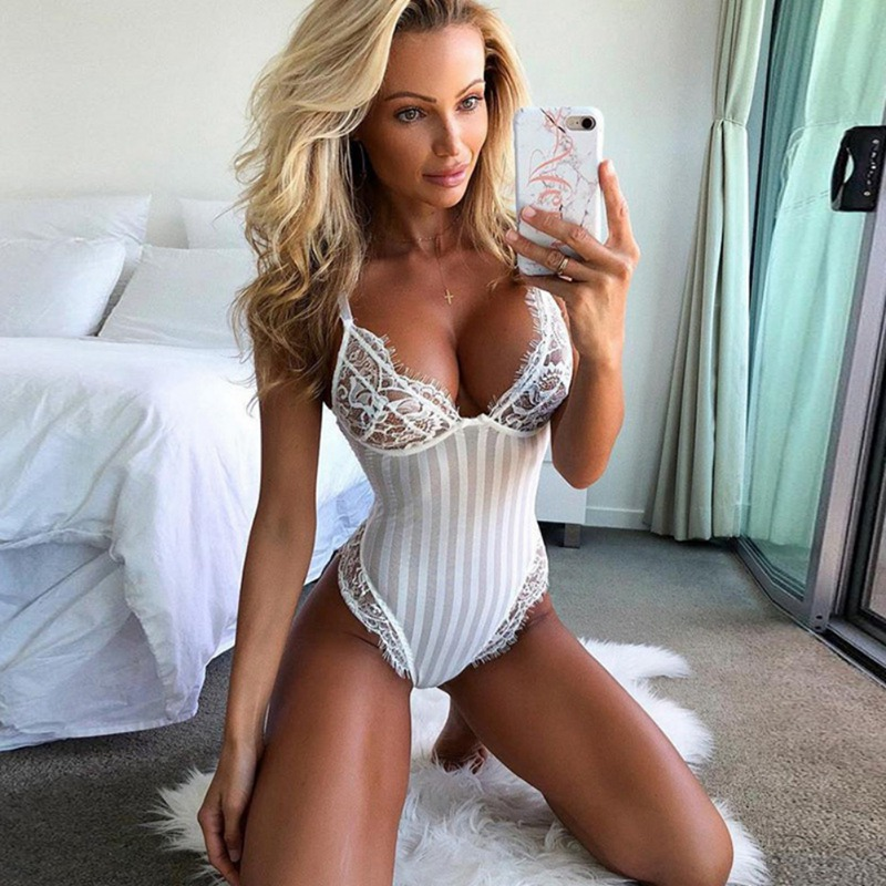 Sexy V Neck Lace Bodycon Bodysuit Spaghetti Strap Striped Jumpsuit Transparent Women Sheer Body Teddy High Elastic Bodysuits