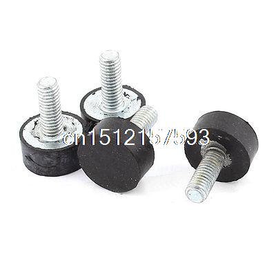 4pcs M6 x 20mm Male Thread Rubber Vibration Isolator Mounts 7/8