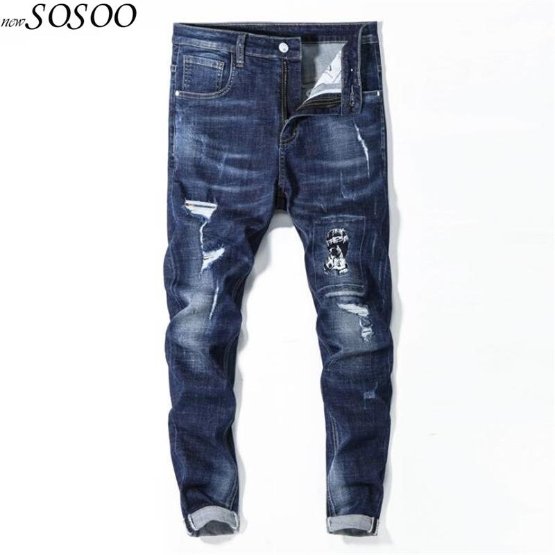 brand men jeans summer knees ripped stretch slim fit jeans pants blue Male Casual fashion jeans men #8080 new 2017 male fashion boutique pure color rivets adornment blue leisure jeans male high grade slim foot casual jeans pants