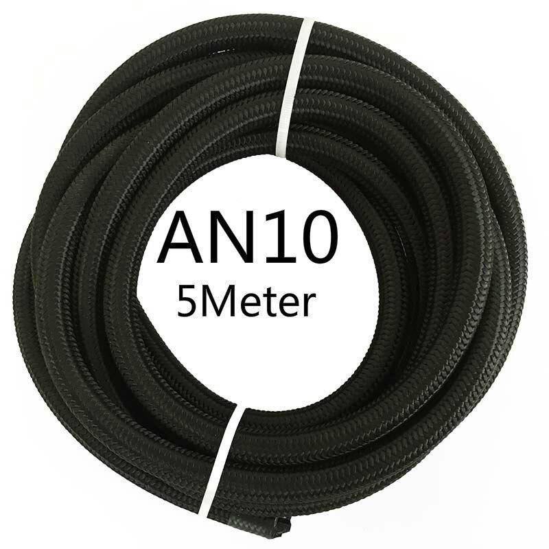 ESPEEDER 5 м AN4 AN6 AN8 AN10 AN12 гоночный шланг Труба Универсальный нейлон-нержавеющая сталь топливная линия Черный Масляный охладитель шланг трубки - Цвет: AN10