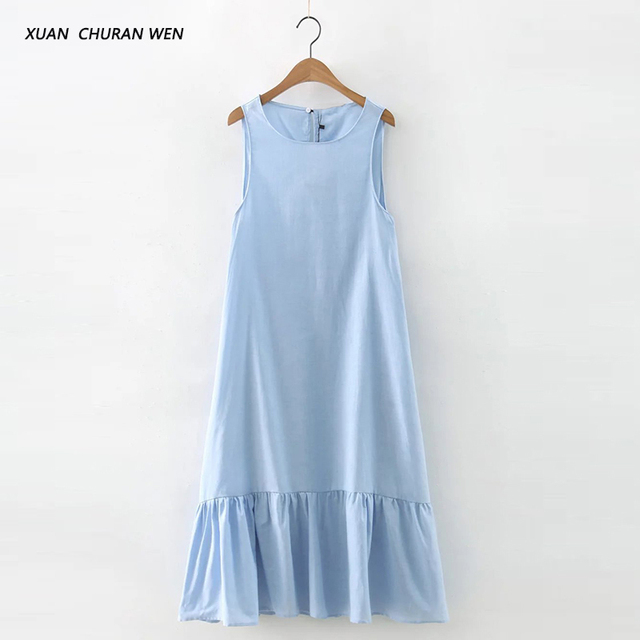Women Summer Sleeveless Denim Cotton Dress Vestidos Casual Loose Large Size Long Dress Flouncing Cocktail Wear XB63001