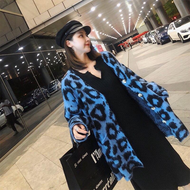 Al Beige Primavera De Gran Sie 2019 Suéter Alta Leopard C 393 Largo Breasted Mayor Solo Abrigo Tamaño Tejer Otoño Plus Venta Por Cardigan azul Calidad dqgA44w