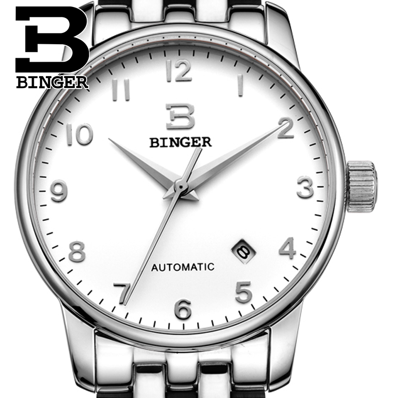 Switzerland watches men luxury brand18K gold Wristwatches BINGER business Mechanical Wristwatches full stainless steel B5005A-5