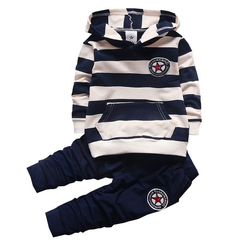 BibiCola Baby Boy Clothing Set Infant Bebe Sports Set Kid Hoodies+Pants Suit Set Toddler Girl Striped Tracksuit Children Clothes