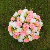 Silk Rose Artificial Flower Arrangement Table Centerpiece Wedding Bouquet Crafts Roman Pillars Candle Holders Flowers