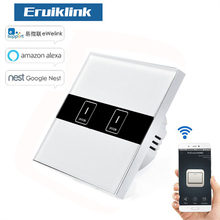 EU Standard eWelink 2 Gang Wifi Control Switch via Android and IOS, Wireless Control Light Touch Wall Switch for Smart Homne цена в Москве и Питере