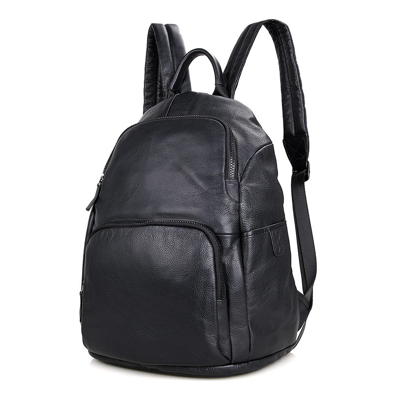Nesitu High Quality New Fashion Black Genuine Leather 14'' Laptop Men Women Backpacks For Girl Female Travel Bags M2005