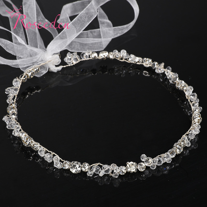 100% handmade crystal bridal wedding Bride Bridal hairband girls' Ribbon tiara Headband Ribbon tiara Headband hairpieceRE577 twist plain headband