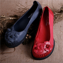 2016 весна женщин обувь из натуральной кожи повседневная обувь ручной работы женская обувь самостоятельно оттенок старинные круглый носок Воскресенье цветок обувь