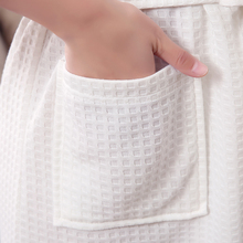 Towel Bath Robe Dressing Gown Unisex Men Women Sleeve Solid Waffle Sleep Lounge Bathrobe Peignoir Nightgowns Lovers Robes
