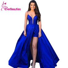 Royal Blue Evening Dresses Long 2019 Satin Spaghetti Straps Party V-neck Prom GownRobe De Soiree