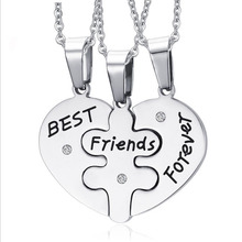 Creative Necklace Heart Pendant Pieces Broken Three Best Friend Necklace Women Necklace Fine Jewelry Wholesale Boy girl jewelry