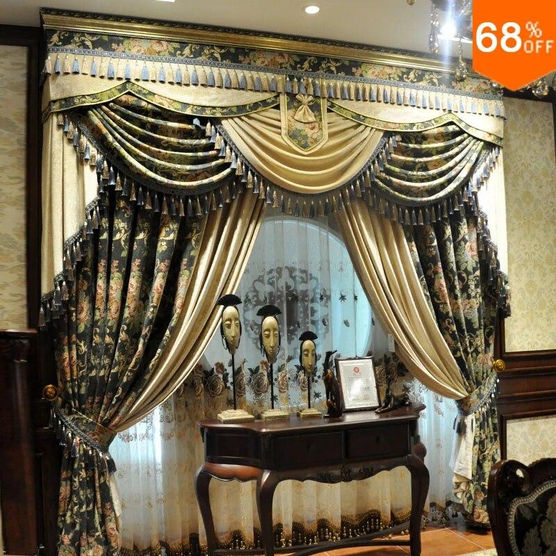 rideaux a motif de fleurs antiques la legende du roi grenouille ultime classique vert ivoire pour salon chambre a coucher salle a manger