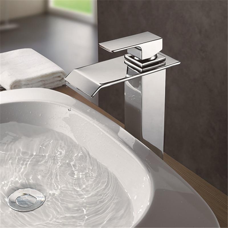 Retail Chrome Finish Waterfall Bathroom Faucet Bathroom