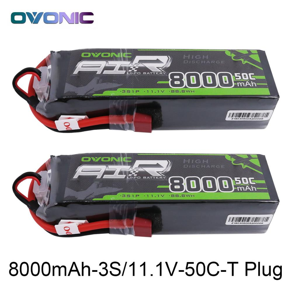 2X Ovonic LiPo Battery 8000mAh 11.1V LiPo 3S 50C-100C Battery Pack T XT60 Plug for Big Size RC Car Heli Truck Quad Drone Boat