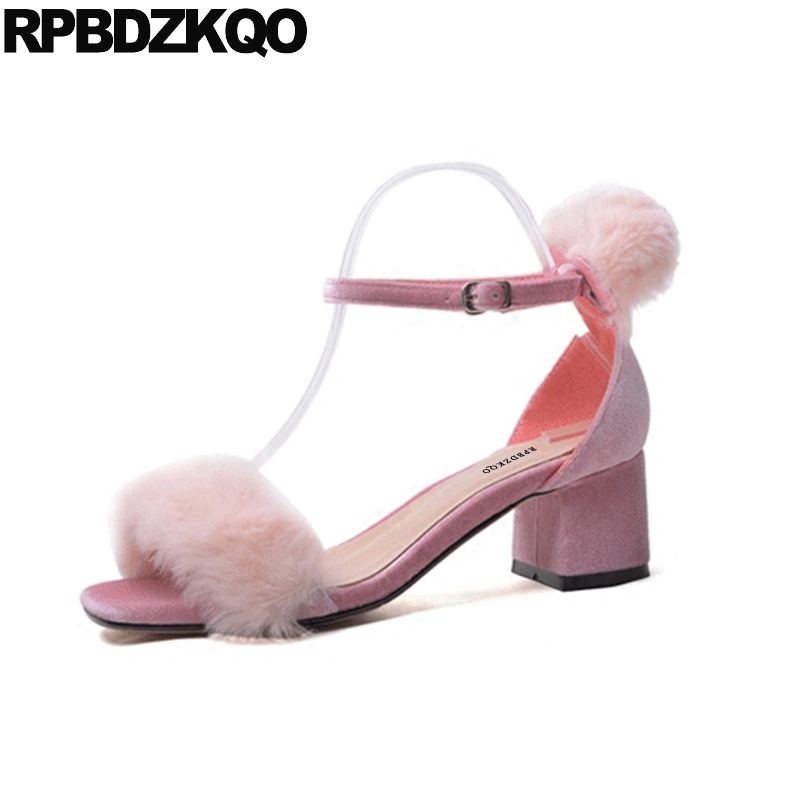 Pink Genuine Leather Furry Sandals High Heels Summer Pumps Designer Shoes Women Luxury 2018 Ankle Strap Chunky Fluffy With Fur summer new pointed thick chunky high heels closed toe pumps with buckle ankle wraps sweet sandals women pink black gray 34 40
