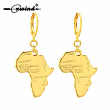 Cxwind Fashion Golden 3D Africa Map Metal Drop Earrings for women Girl Design Ethnic Boho Africa Face Dangle Earrings Jewelry