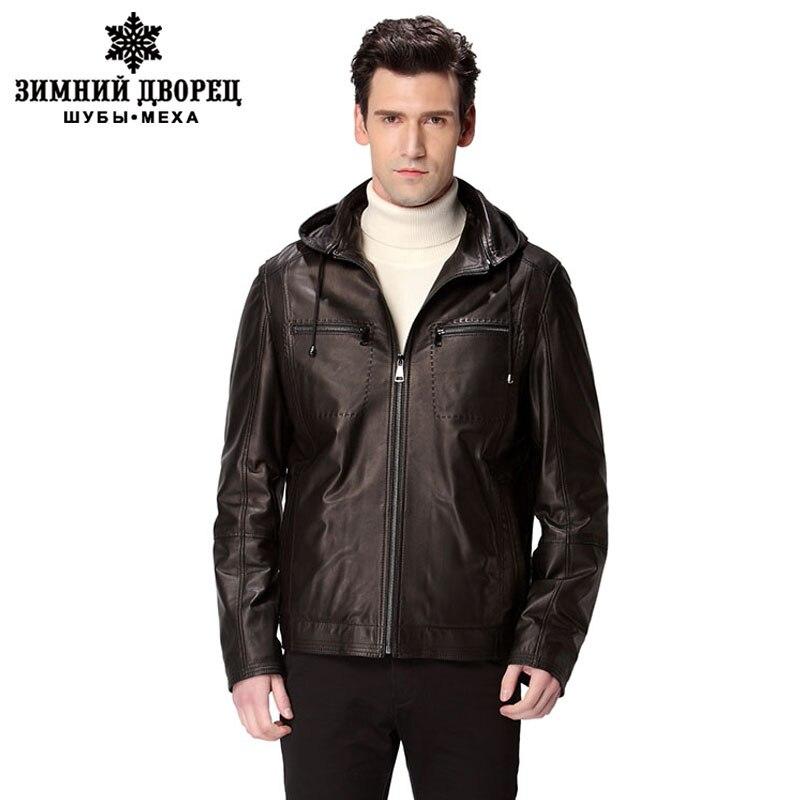 Cappello nero del motociclo cappotto uomo, In Vera Pelle, Pelle di Pecora, Collo Alla Coreana, giacca di pelle, giacca in pelle da uomo, giacca biker
