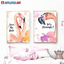 Flamingos Watercolor Wall Art Canvas Painting Nordic Posters And Prints Animals Pictures For Living Room Bedroom Decor