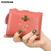 Cowhide women Short wallet Woman Coin Purse for Short Square Bee Pattern Mini Wallet Litchi Tassel Clutch Bag Coin Pocket