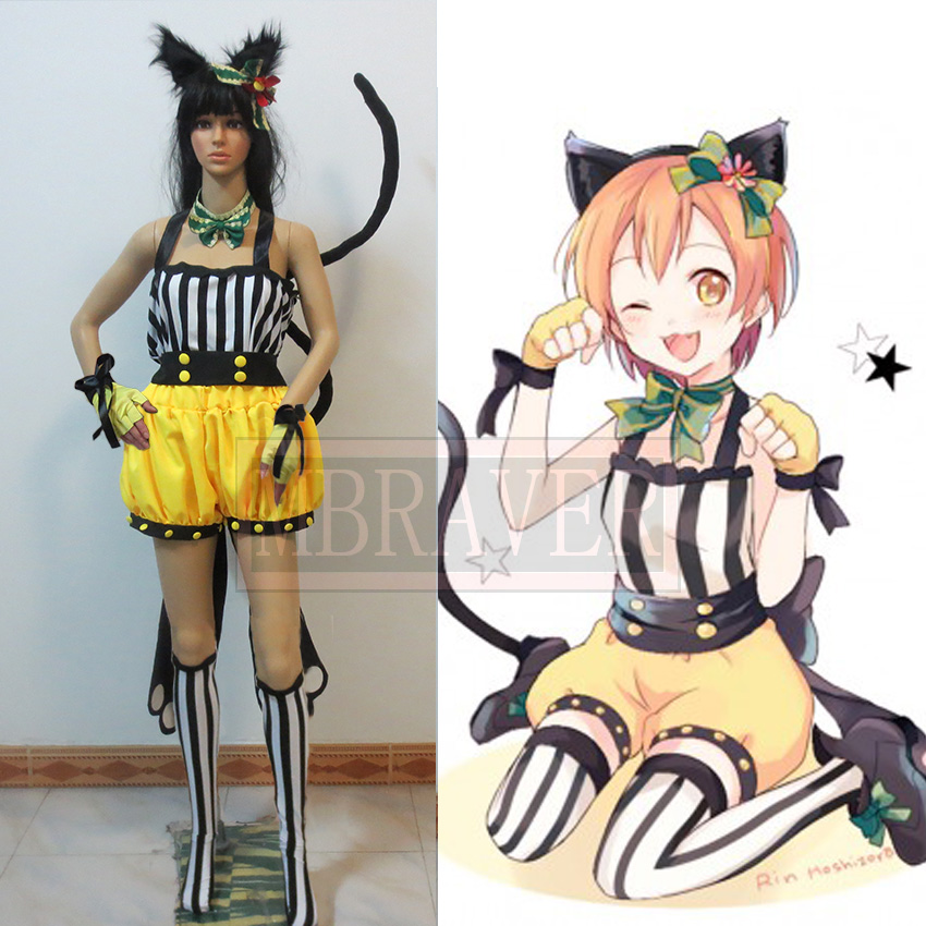 Free Shipping Love Live School Idol Paradise Rin Hoshizora Cat Girl Cosplay costume