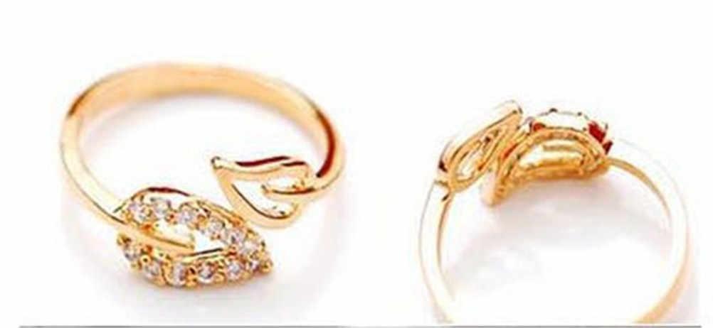 Open Design Blatt Ring Persönlichkeit Weibliche Blume Ring Für Frauen Hochzeit Ring