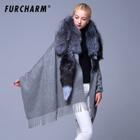 Real Fur Shawls and Scarves Cashmere with Genuine Whole Piece Silver Fox Fur Shawl Classic Grey Fur Poncho Pashmina Scarf