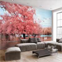 Fantasie rosa baum landschaft TV hintergrund wand professionelle produktion wandbild großhandel tapete wandbild custom foto wand