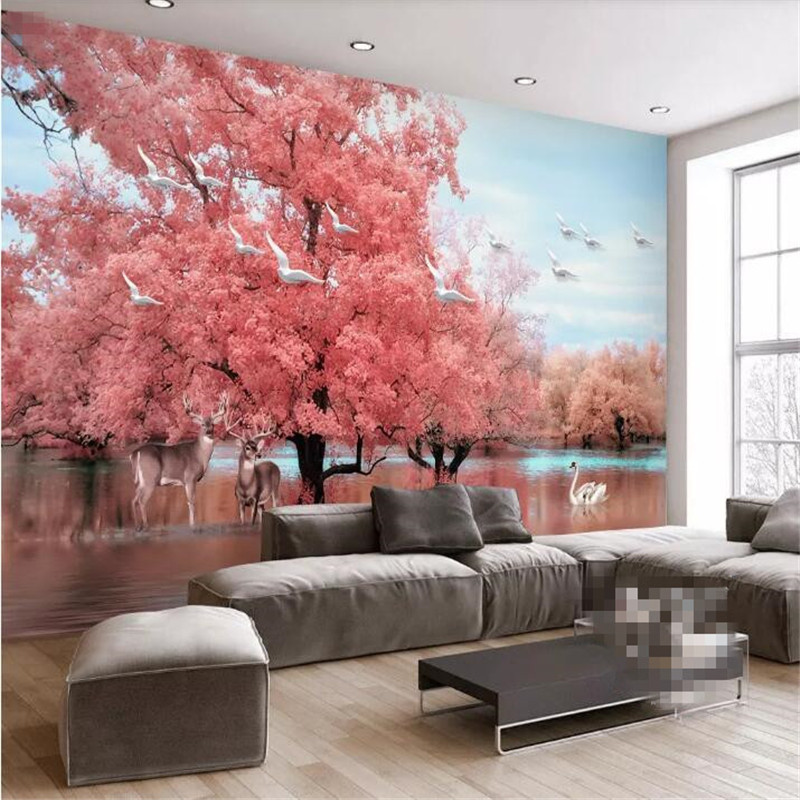 Fantasy pink tree landscape TV background wall professional production mural wholesale wallpaper custom photo