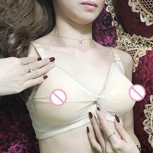 Image 3 - Сексуальный Трансвестит транссексуал бюстгальтер форма груди силиконовые груди бюстгальтер полупрозрачный карман Бюстгальтер без груди