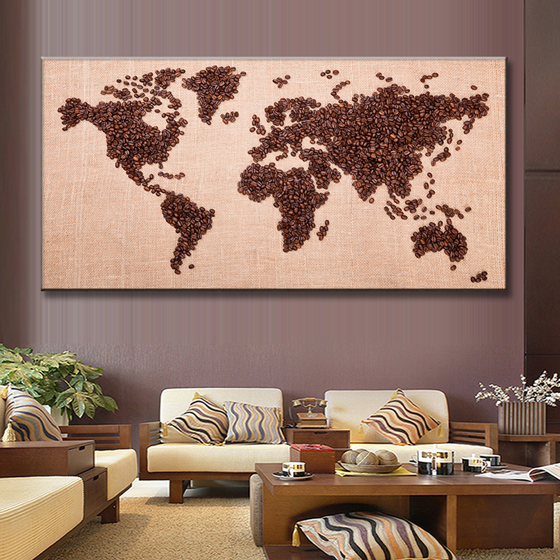 1 Pcs Set Huge Picture World Map Canvas Prints Painting Brown Coffee