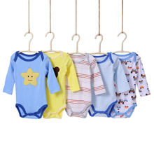 0-24m Cute Lovely 5 Pieces/Packs Baby boy Bodysuits Infant Baby Jumpsuit Baby Clothes Baby Girls Long Sleeve Bodysuits Clothing
