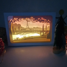 Tower Design Paper Lantern 3D Papercut Light Boxes Baby Night Light Lamp of Creative Light Paintings Family  Gift Valentine Day