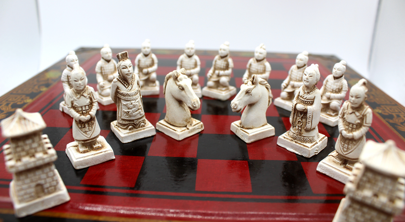 High-end Collectibles Vintage Chinese Terracotta Warriors Chess Set Best gift for Leaders Friends Family 26.5*26.5cm*6cm 4