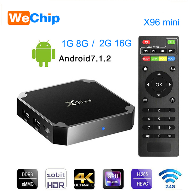Wechip X96 Mini Astuto di Android 7.1 Tv BOX 2G 16G Set Top Box 1G 8G X96mini supporto 4K HD 2.4G Wireless WIFI Media Player