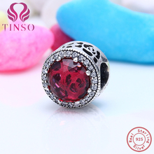 100% Real 925 Sterling Silver Rose Stone Clear CZ Charms Fit TINSO Bracelet Luxury Beads Charms Original Jewelry Making